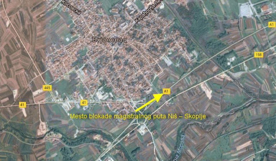 Lokacija blokade magistralnog puta Niš – Skoplje. Foto printscreen Google Earth