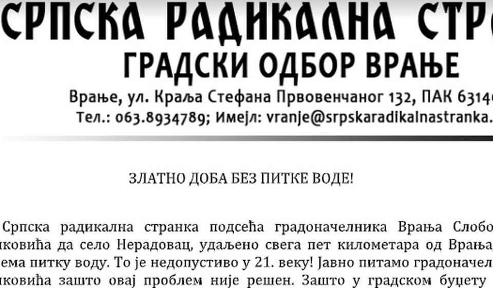 Izvod iz saopštenja vranjskih radikala. Foto printscreen Vranje News