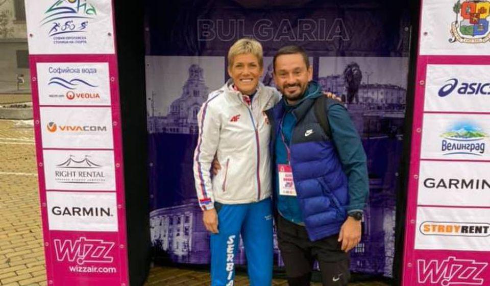 Saša Ćuković i Olivera Jevtić u Sofiji. Foto AK Vranjski maratonci