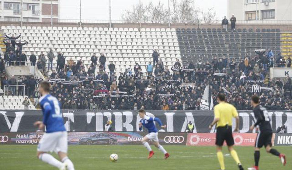 Detalj sa meča surduličkog Radnika i Partizana ovog proleća u Humskoj. Foto FK Partizan