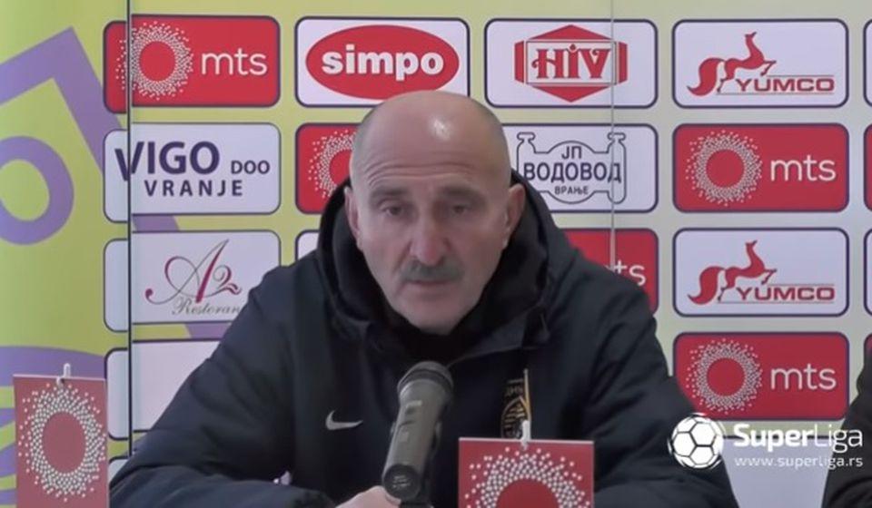 Radmilo Jovanović na konferenciji za medije posle utakmice. Foto Printscreen Super liga