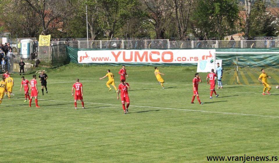 Dimitrov proslavlja istorijski, prvi gol Dinama u Super ligi u Vranju. Foto VranjeNews