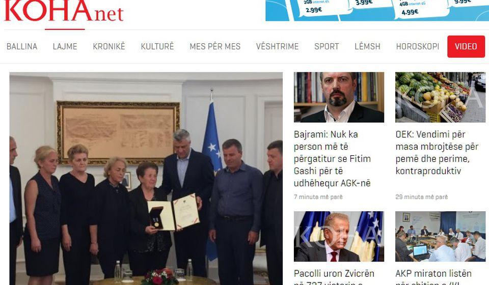 Informaciju je objavio albanski portal Koha ditore. Foto screenshot
