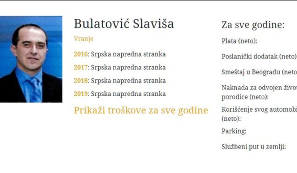 Ovoliko je poreske obveznike koštao Slaviša Bulatović. Foto printscreen CINS