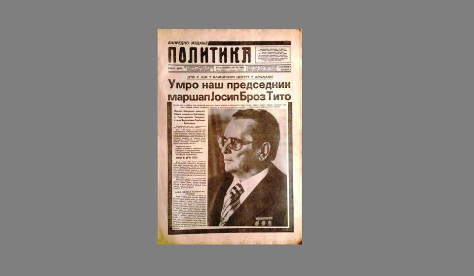 Foto printscreen naslovnice Politike iz maja 1980. godine