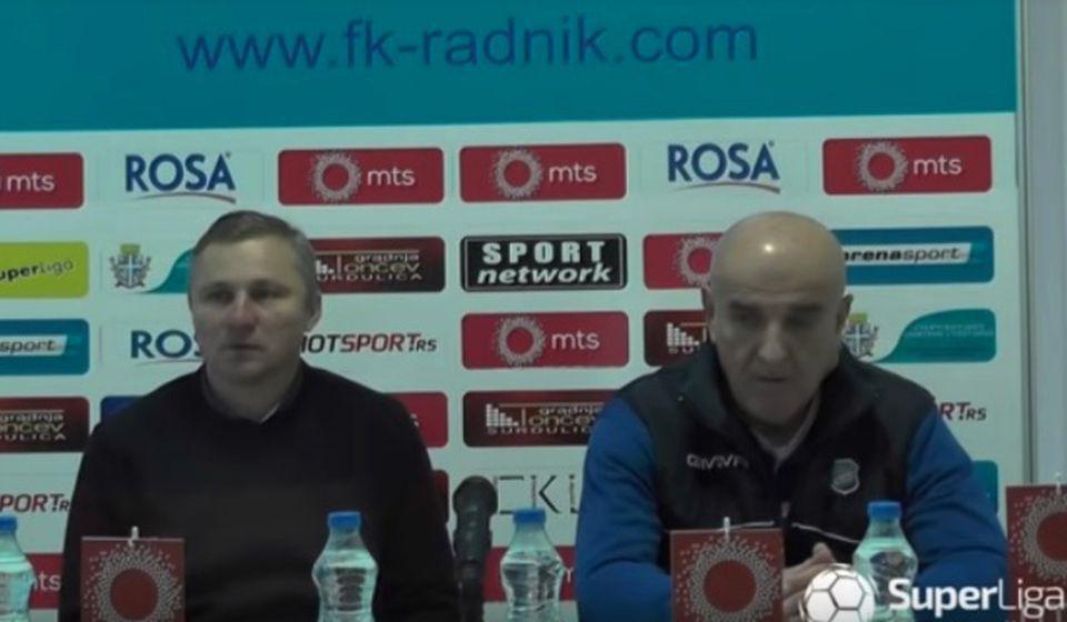 Milan MIlanović i Dragan Đorđević na konferenciji za medije. Foto Printscreen Super liga