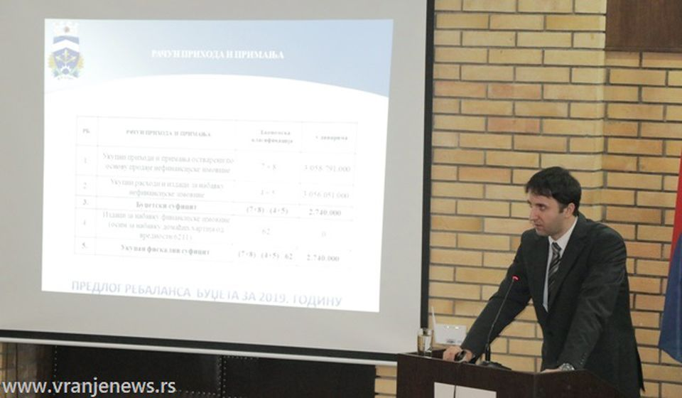 Većnik Bojan Kostić na današnjoj sednici gradskog parlamenta. Foto VranjeNews