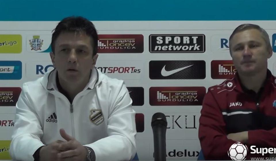 Krunić (levo) i Milanović na konferenciji za medije. Foto Super liga screenshot