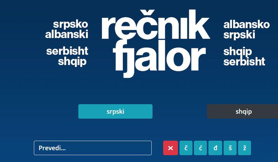 Foto printscreen www.fjalor-recnik.com