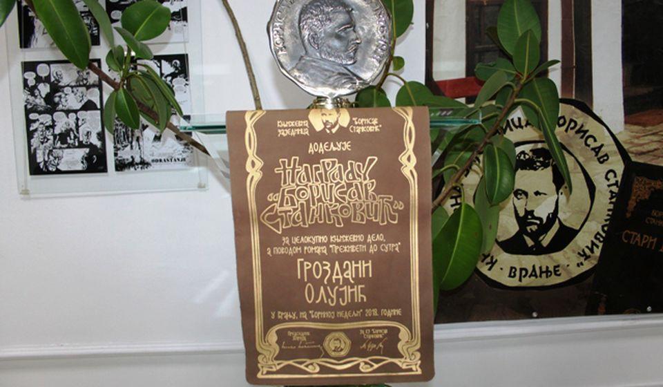 Zahvalnost žiriju što je skrenuo pažnju na njen roman: Borina nagrada. Foto VranjeNews