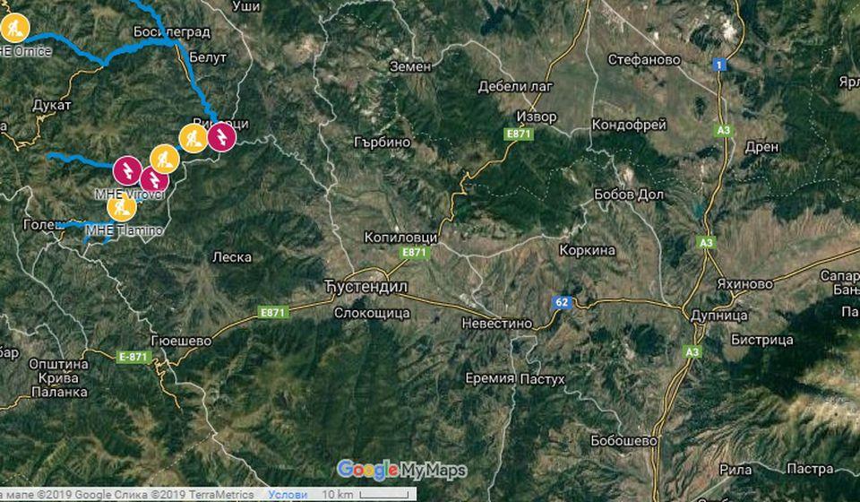 Status gradnje malih hidroelektrana u Bosilegradu zaključno sa oktobrom 2018; izvor: Opština Bosilegrad, EPS Snabdevanje, Ministarstvo zaštite životne sredine. Foto Google maps printscreen