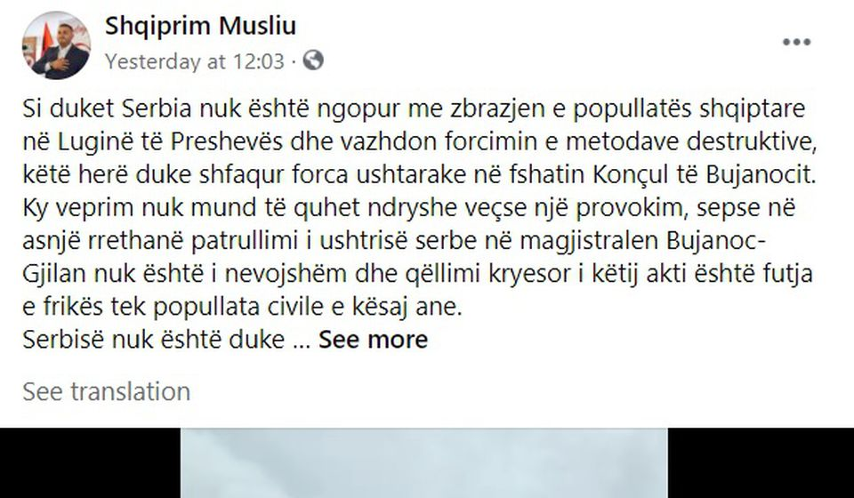 Objava na Fejsbuku. Foto printscreen Fejsbuk profila Šćiprima Muslijua (klik na sliku za uvećanje)