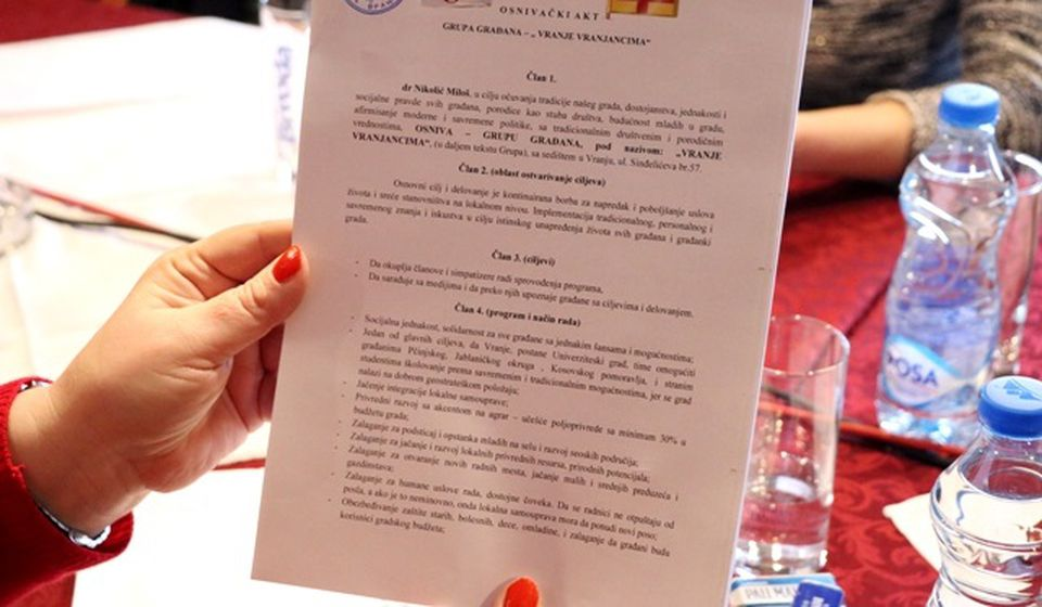Osnivački akt. Foto VranjeNews