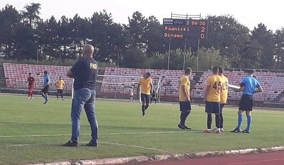 Detalj sa utakmice u Kragujevcu. Foto FK Dinamo (Fejsbuk)