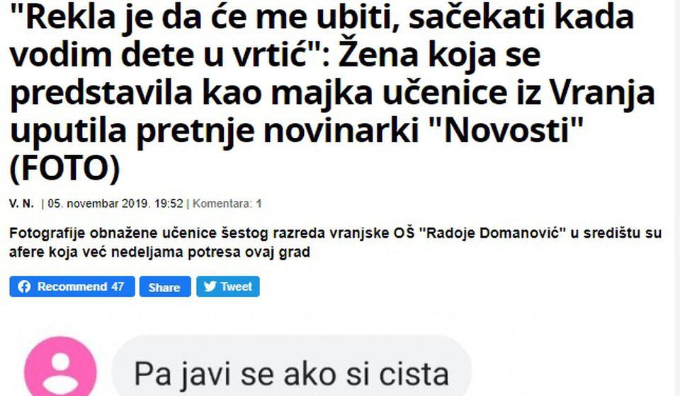 Deo pretnji koje su upućene novinarki Jeleni Stojković. Foto printscreen Večernje novosti