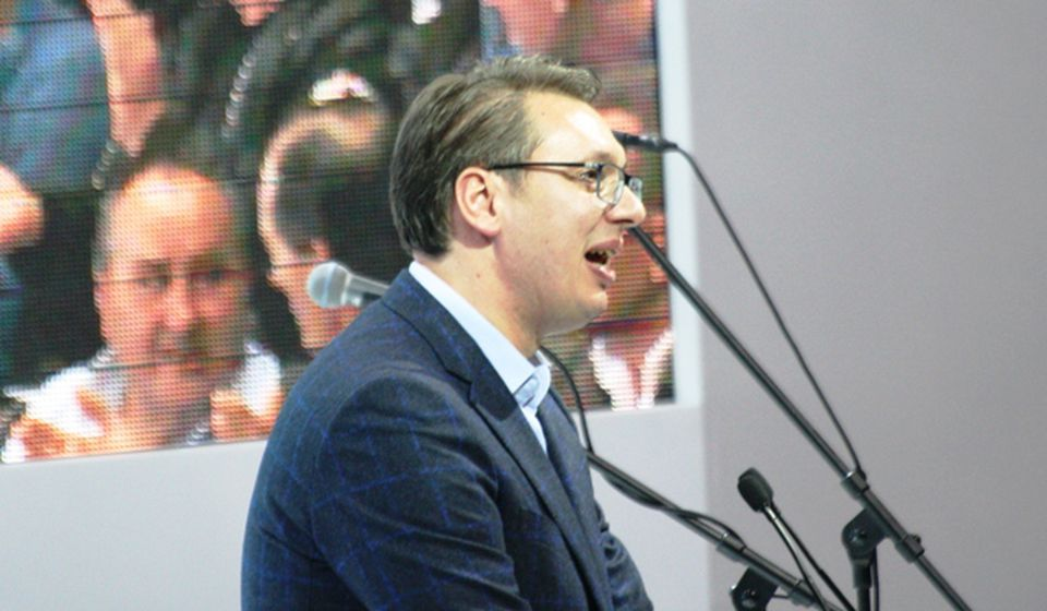 Vučić na mitingu u Vranju pred predsedničke izbore. Foto D. Stanić