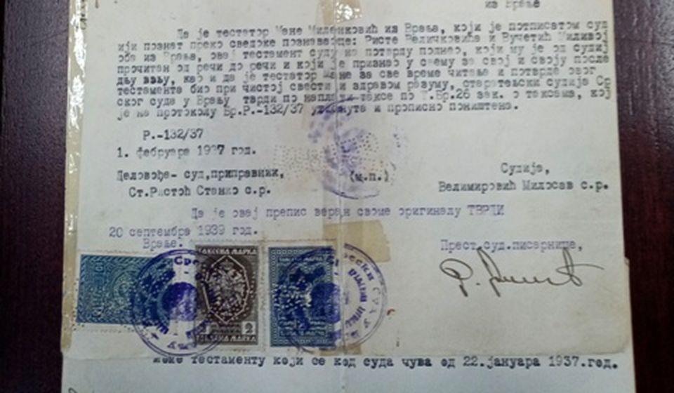 Testament iz 1934. godine (klik na sliku za uvećanje). Foto Gimnazija