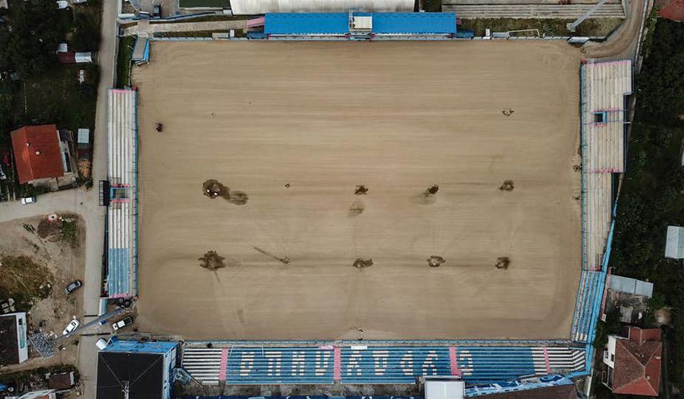 Trenutni izgled stadiona u Surdulici iz ptičje perspektive. Foto FK Radnik