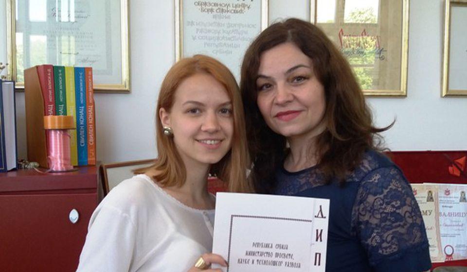 Jelena Filipović sa svojom profesorkom Tanjom Rusimović, Foto privatna arhiva