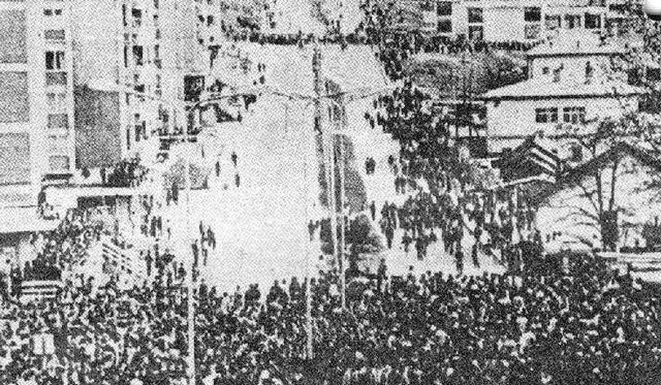 Jedna od retkih fotografija demonstracija u Prištini 1. aprila 1981 (autor nepoznat). Foto Wikipedia