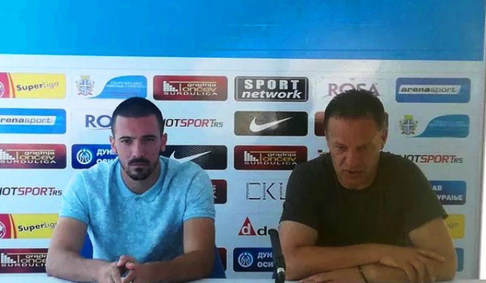 Stevanović i Dodić na konferenciji za medije. Foto FK Radnik