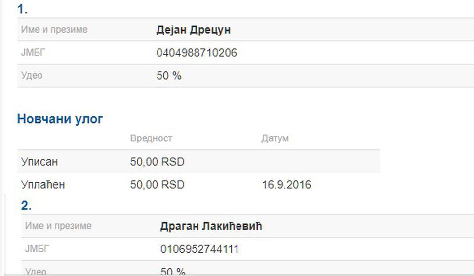 Prema APR-u suvlasnici firme D&D Energy su Drecun i Lakićević. Foto printscreen APR