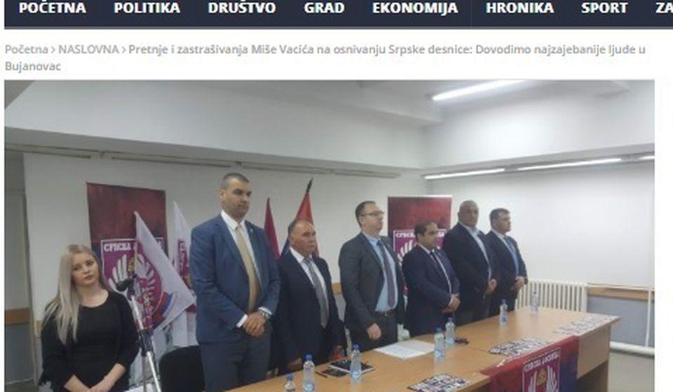 Foto  printscreen vesti Bujanovačkih koja je uzburkala javnost