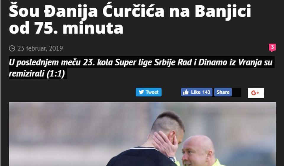 Foto Printscreen Sportski žurnal
