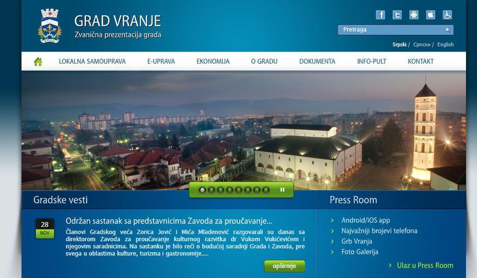 Ovako izgleda aktuelna verzija gradskog veb sajta. Foto printscreen