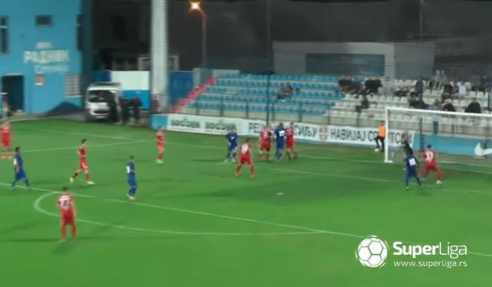 Radnik postiže vodeći gol. Foto screenshot Super liga