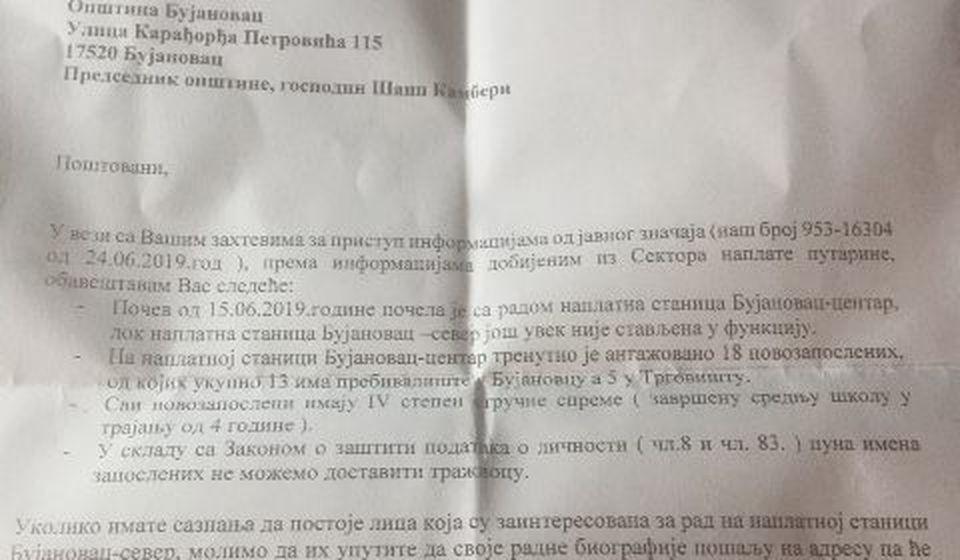 Odgovor Puteva Srbije (klik na dokument za uvećanje)
