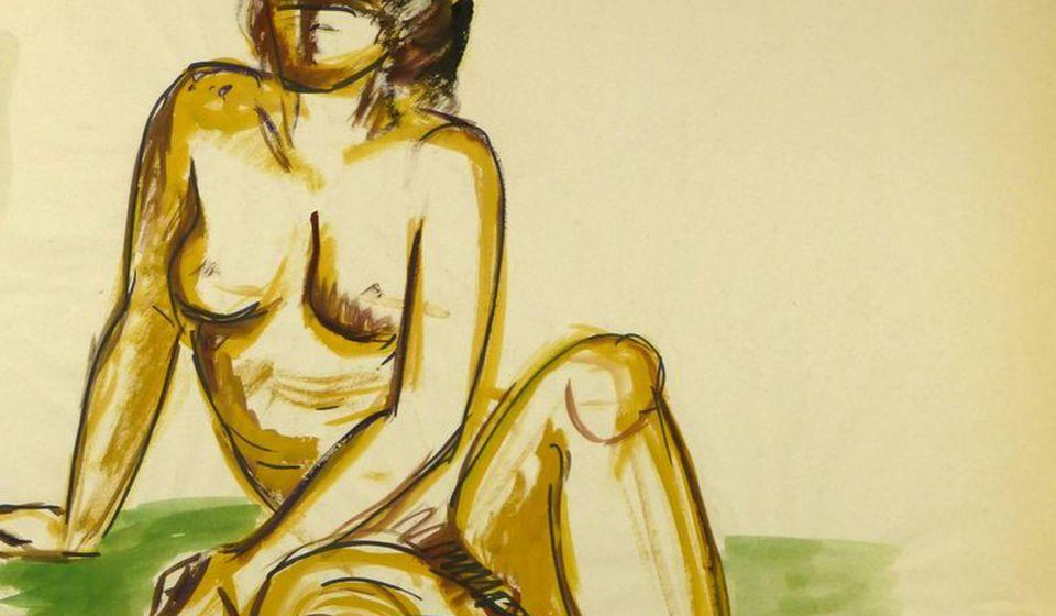 Foto ilustracija (Esther Meyer - Female Nude Sitting on Green)
