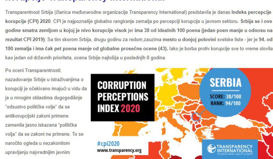 Foto printscreen www.transparentnost.org.rs