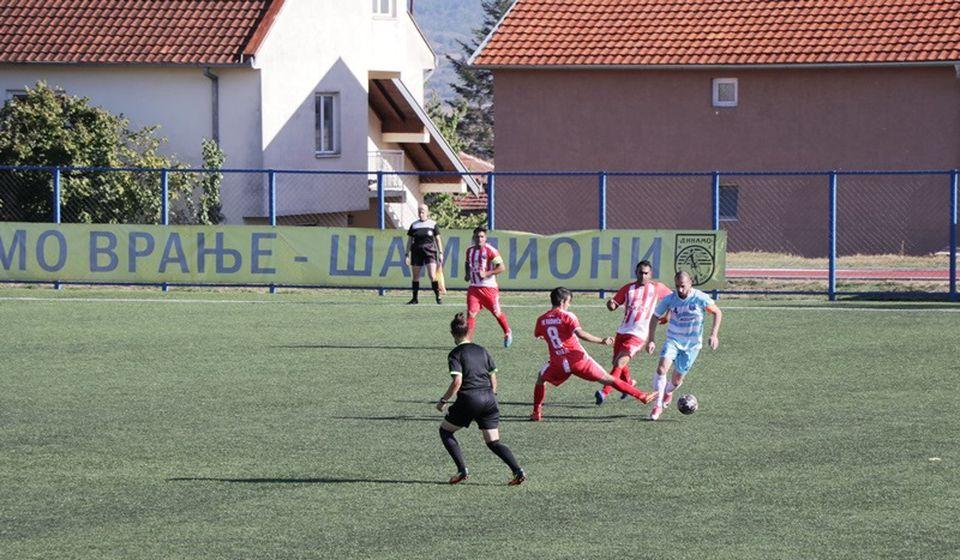 Detalj sa današnje utakmice na Gradskom stadionu u Vranju. Foto Vranje News